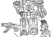 Power Rangers - Megazord and dinosaurs coloring page for boys #robot
