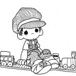 Precious Moments Christmas Coloring Pages | Train driver - precious moments colo...