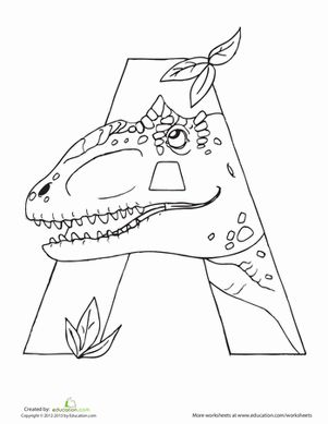 Preschool Dinosaurs Letter A Worksheets: Dino A