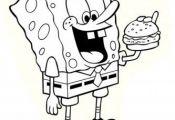 Printable Cartoon spongebob eating hamburger coloring page - Printable Coloring ...
