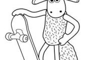 Shaun the sheep cartoon coloring pages for kids, printable free