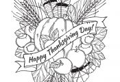 Thanksgiving day drawing to print and color with : feathers, chestnuts, vegetabl...