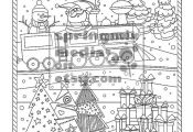 This Christmas Santa Train coloring page is so pretty, fun and holiday detailed!...
