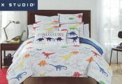This is a VERY COLORFUL comforter set featuring a wide variety of dinosaurs; som...