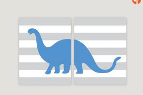 This modern dinosaur name print will add a pop of color to your little one's...