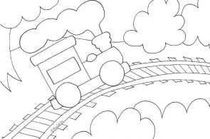 Toy Train Coloring Page from WeeFolkArt.com