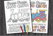 "Train Birthday Coloring Page | Printable DIY Digital File | 8.5"" x 11""..."