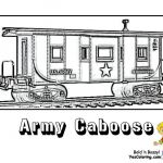 Train Coloring Page For Kids Of Army Train Caboose