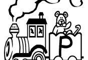 Train letter P color page