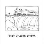 Trains Coloring Book: Train Crossing Bridge Coloring Page