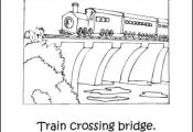 Trains Coloring Book: Train Crossing Bridge Coloring Page