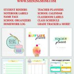 View this complete back to school printables list for your organizing needs. Sch...