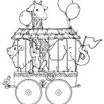 Vintage Coloring Book Illustrations | Circus train animals- coloring page | Circ...