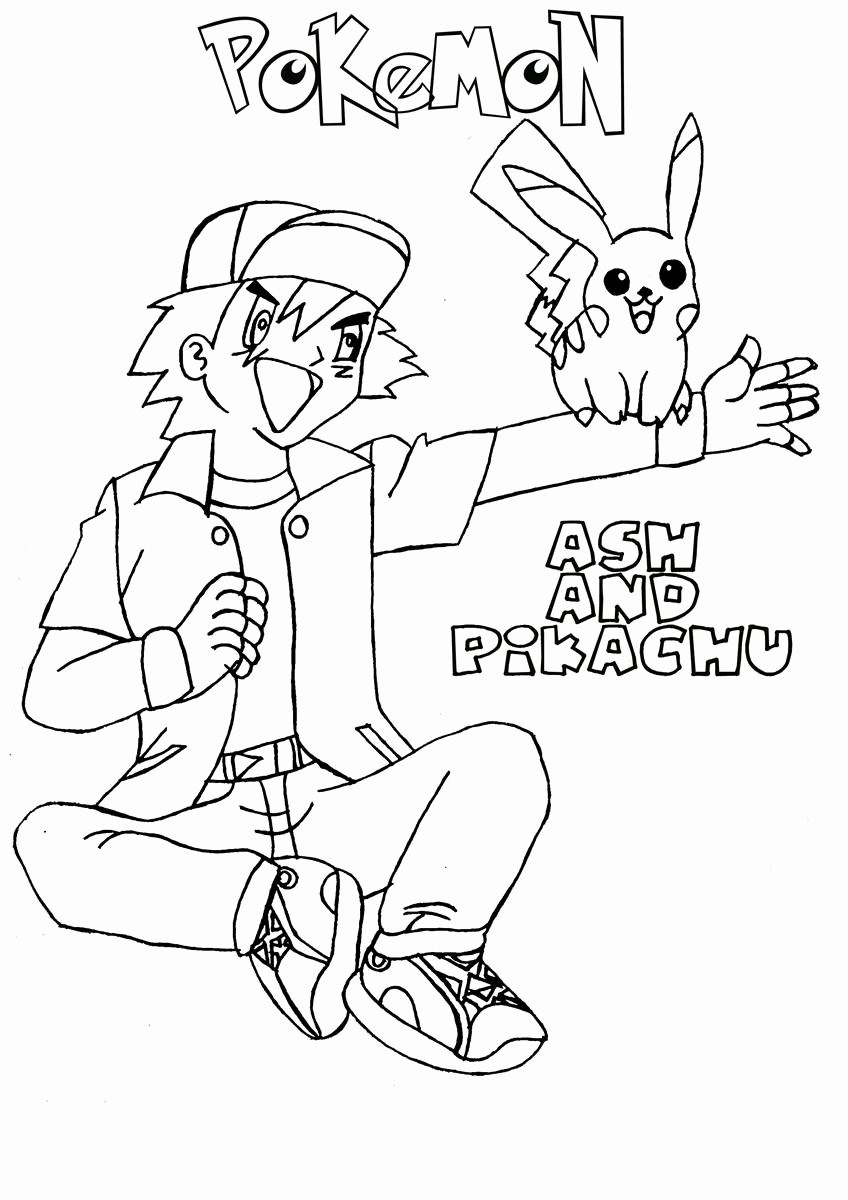 Ash and Pikachu Coloring Page ash and Pikachu Coloring Page
