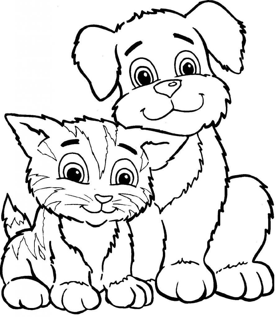 Cat and Dog Coloring Pages Cat and Dog Coloring Pages