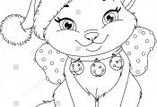 Christmas Cat Coloring Page Christmas Cat Coloring Page