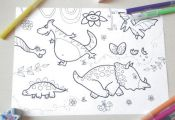 dinosaurs kids coloring dino children funny nice cute animals colouring kids act...
