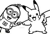 Minion and Pikachu Coloring Page Minion and Pikachu Coloring Page