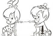 pebbels and bambam Cartoon Coloring Pages | Dibujos de Bam bam ♥