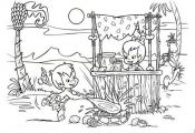 pebbels and bambam Cartoon Coloring Pages | Little Pebbles and Bamm Bamm Colorin...