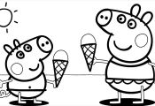 Peppa Pig at the Beach Coloring Pages Peppa Pig at the Beach Coloring Pages