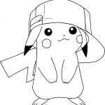 Pikachu with A Hat Coloring Page Pikachu with A Hat Coloring Page