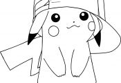 Pikachu with Hat Coloring Page Pikachu with Hat Coloring Page