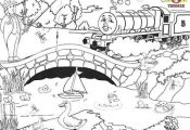 printable Train Thomas Henry the tank engine and the water wildlife birds colori...