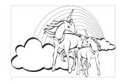 Unicorn and Rainbow Coloring Pages Unicorn and Rainbow Coloring Pages