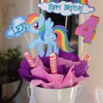 4 pc. My Little Pony Rainbow Dash personalized centerpiece picks. High quality l...
