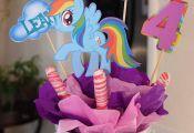 4 pc. My Little Pony Rainbow Dash personalized centerpiece picks. High quality l...