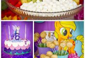 A fun My Little Pony girl birthday party with rainbow fruit, a fondant cake and ...