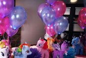 Centerpieces made with My Little Pony plush dolls from Build A Bear.  Bear, Buil...