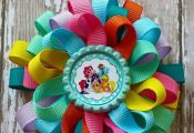 Colorful Loopy Hair bow with My Little Pony Characters Bottle cap center.  Size ...