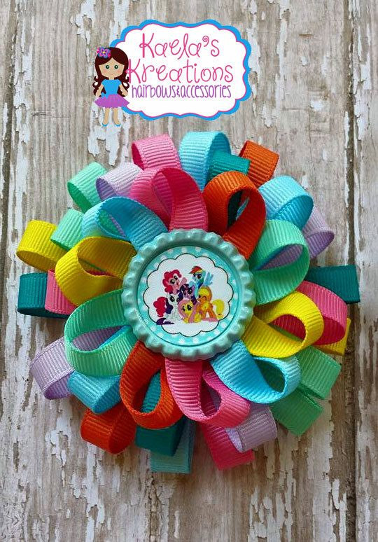 Colorful-Loopy-Hair-bow-with-My-Little-Pony-Characters-Bottle-cap-center.-Size Colorful Loopy Hair bow with My Little Pony Characters Bottle cap center.  Size ... Cartoon