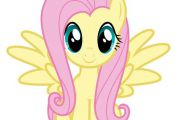 Fluttershy My Little Pony Iron On Transfer 5x5.5 for LIGHT Colored Fabric