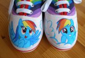 Hand painted Children My Little Pony shoes, Rainbow Dash Any size, color, charac...