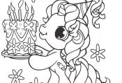 Little Pony Brought A Birthday Cake Coloring Pages - My Little Pony car coloring...
