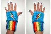 MLP Rainbow Dash Mini Wristies. Wristwarmers. My Little Pony Fingerless Gloves. ...