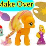 My Little Pony Applejack Make Over with Disney Little Kingdom Rapunzel Hair Colo...