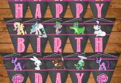 My Little Pony Birthday Banner Chalkboard  by NineLivesNotEnough  Banner, Birthd...