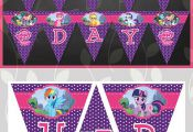 My Little Pony Birthday Banner Purple Dots // by ApothecaryTables