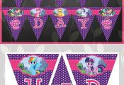 My Little Pony Birthday Banner Purple Dots // by ApothecaryTables  ApothecaryTab...