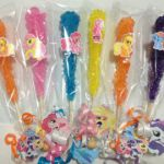 My Little Pony Birthday Party Favors use stickers to decorate color favors