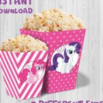 My Little Pony party popcorn box (pink color), Printable My Little Pony party Bo...