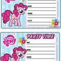 My Little pony invitations - free printables (Pinkie Pie)