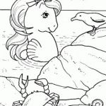 My little pony, a seahorse on the shore with a gull, a crab and a snail coloring...