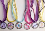 My little pony party favor necklaces.. My little pony.. Rainbow dash.. Rarity..p...