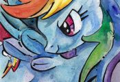 Rainbow Dash Print of Watercolor Painting by Jen Tracy - My Little Pony Friendsh...