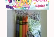 Sets of Personalized My Little Pony Birthday Party Favor Bags with mini coloring...
